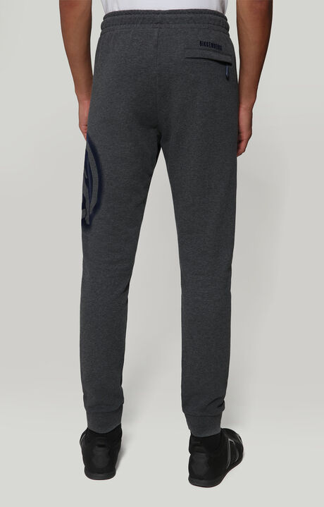 FLEECE PANTS WITH LOGO PRINT, DARK GREY MELANGE, hi-res-1