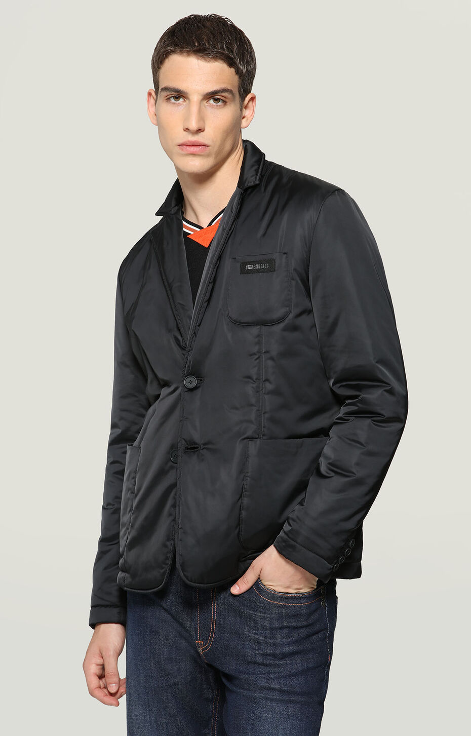 NYLON JACKET WITH PATCH, BLACK, hi-res-1