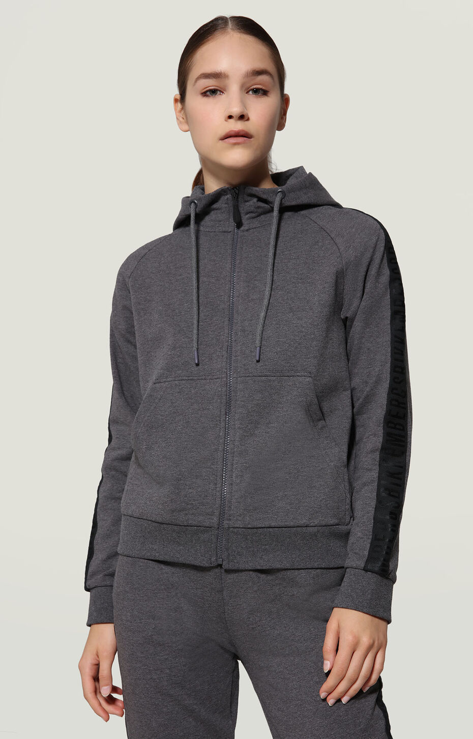 SWEATER WITH ZIP + HOOD + TAPE, DARK GREY MELANGE, hi-res-1