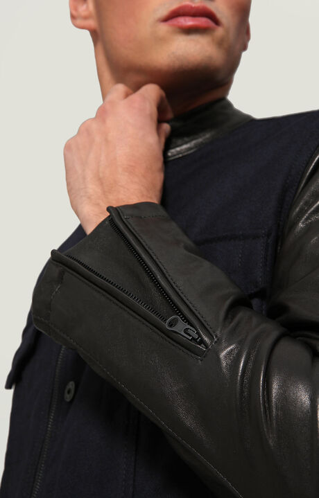 LEATHER+CLOTH JACKET, BLUE, hi-res-1
