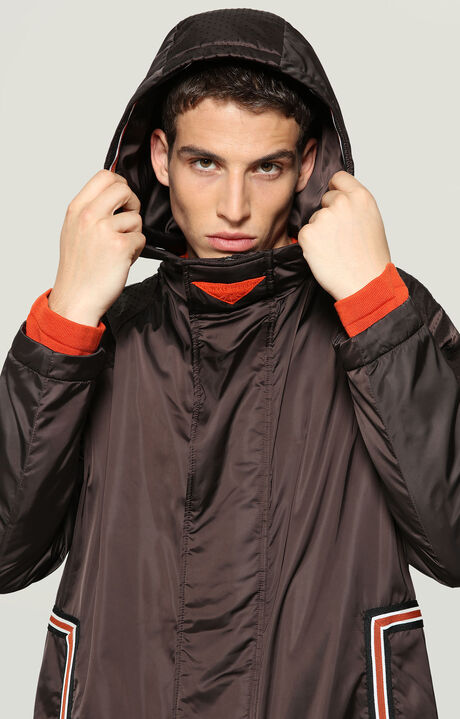 NYLON JACKET WITH STRIPED TAPE, RUST BROWN, hi-res-1