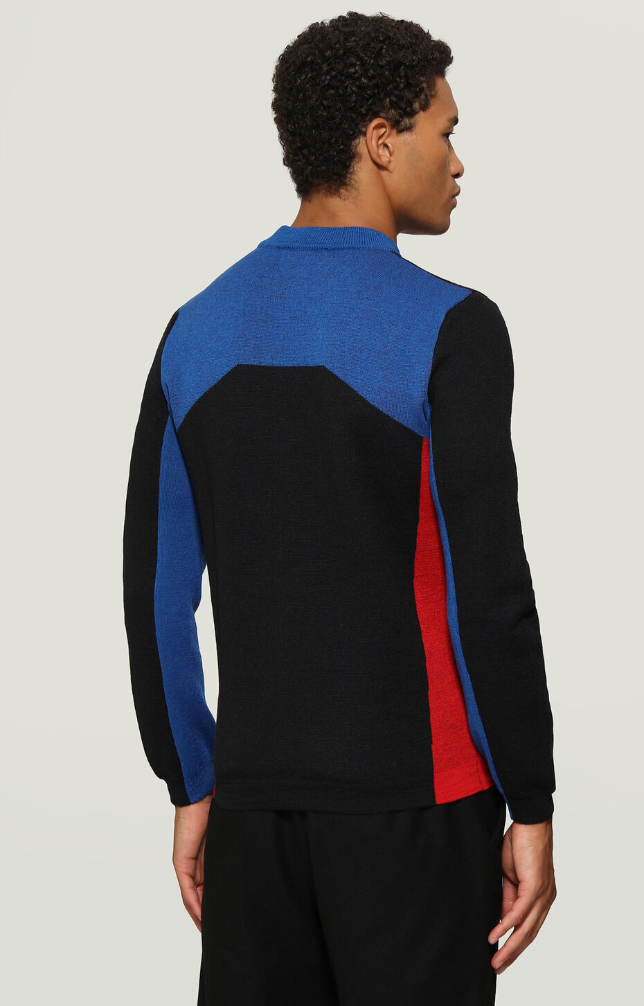 SWEATER, Black/Red/Bluette, hi-res-1