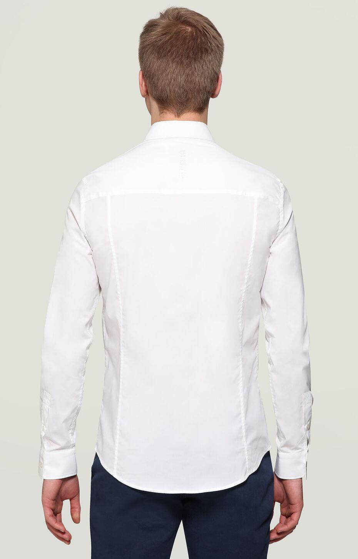 L/S SHIRT EMBROIDERY LOGO 7CM YOKE, WHITE, hi-res-1