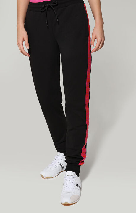 FLEECE PANTS WITH TAPE ON SIDE, BLACK, hi-res-1