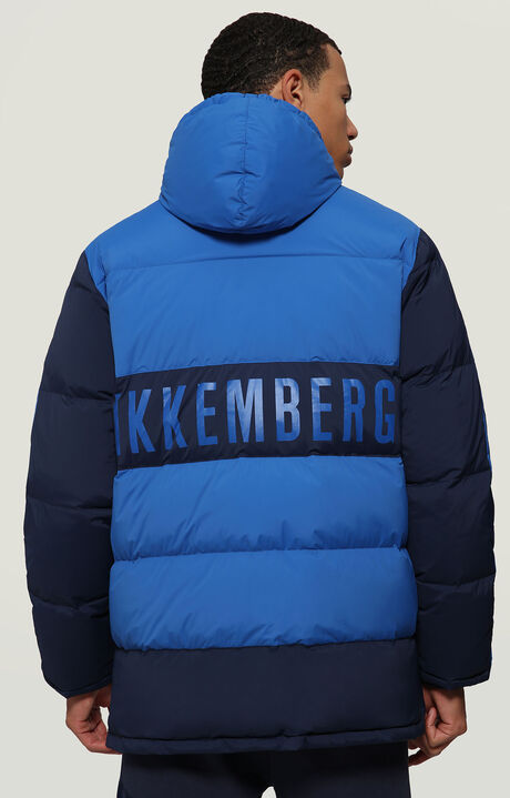 DOWN JACKET CONTRAST COLOUR+LOGO, BLUE, hi-res-1