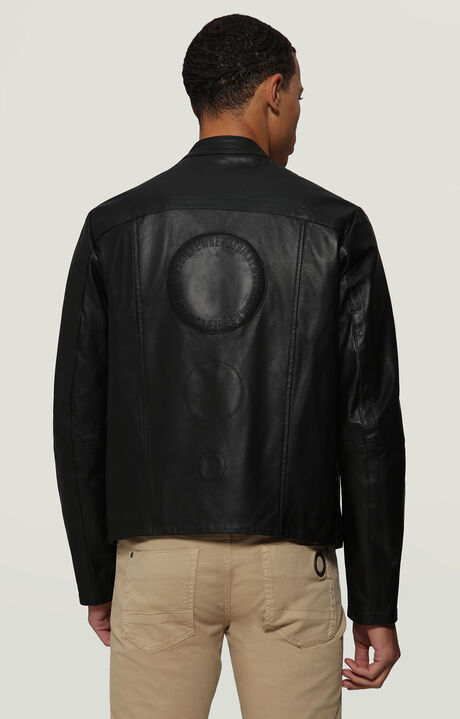 LEATHER JACKET WITH EMBOSSING, BLACK, hi-res-1