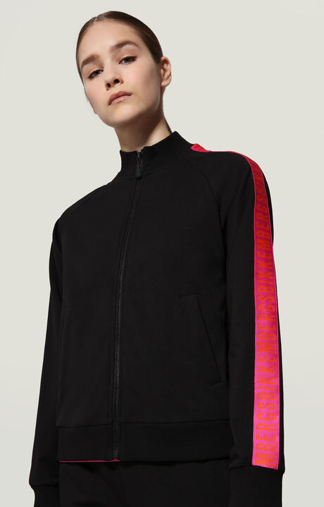 SWEATER WITH ZIP+PRINT OPTICAL FL., BLACK, hi-res-1