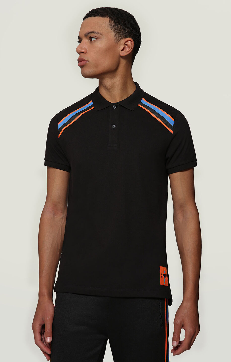 PIQUET POLO WITH LOGO LABEL, BLACK, hi-res-1