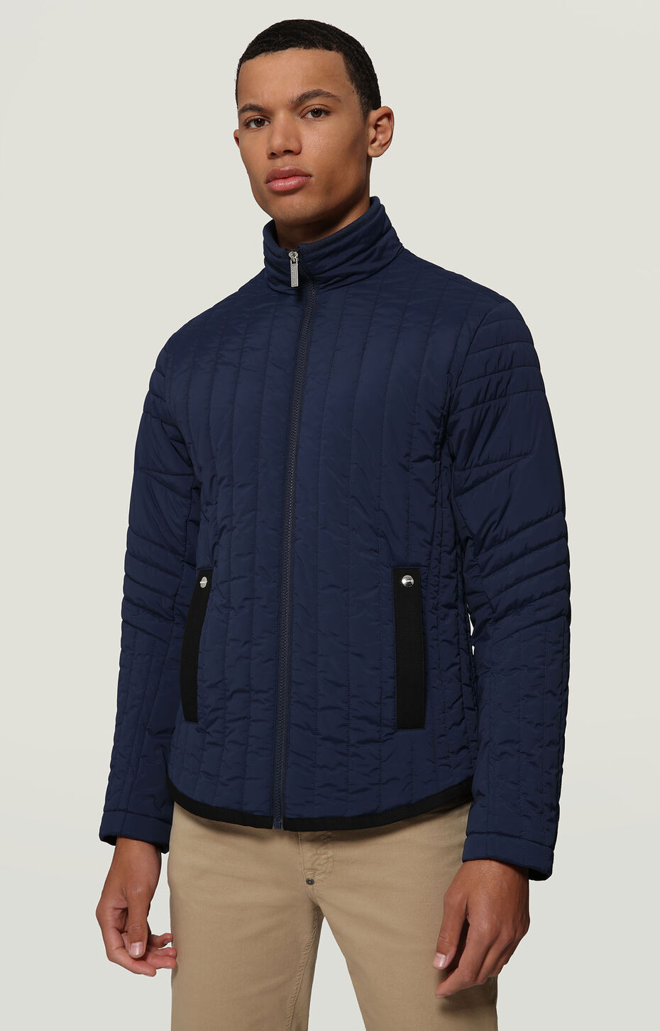 QUILTED JACKET WITH LOGO LABEL, BLUE, hi-res-1