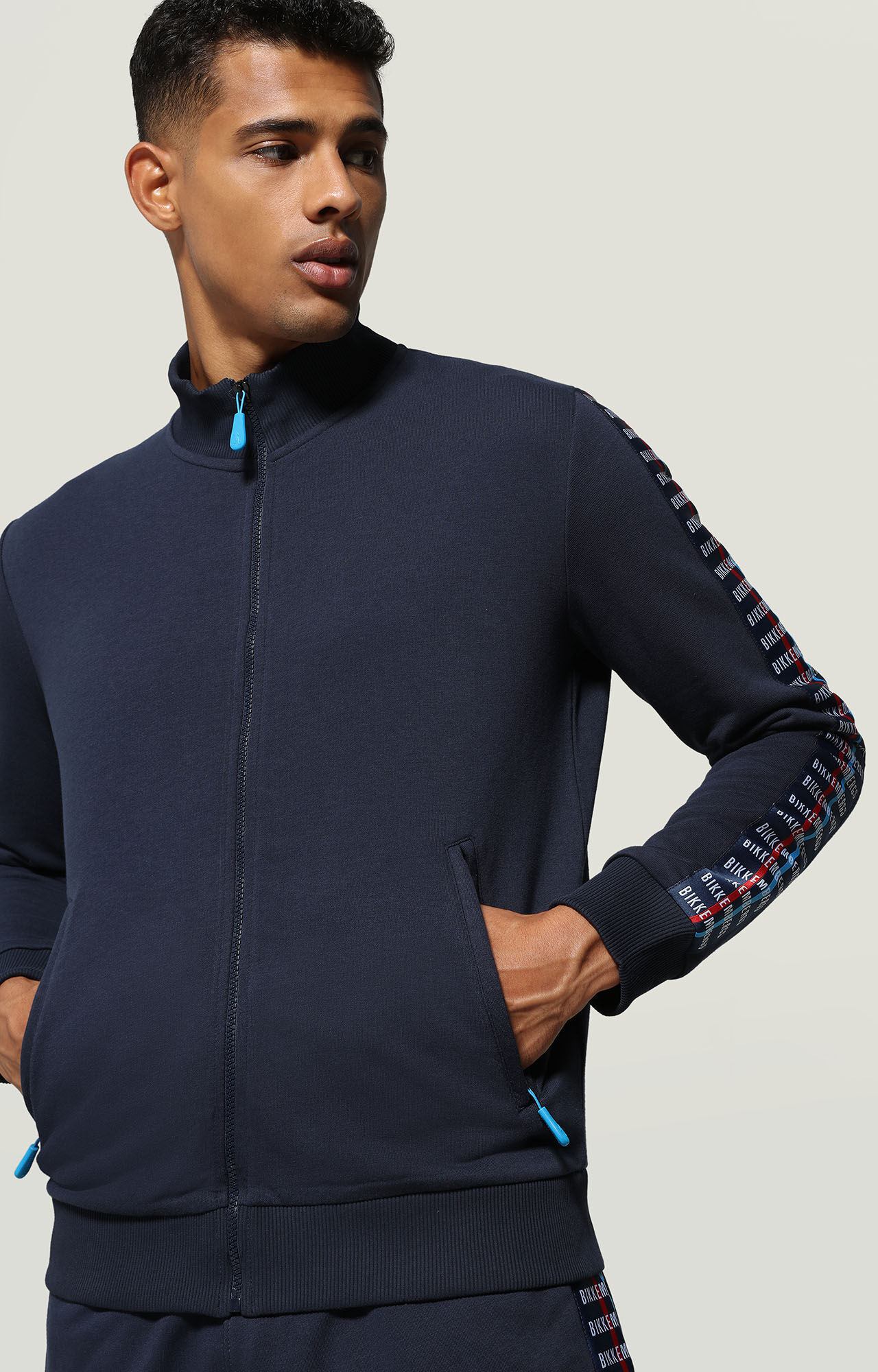 50/% OFFBIKKEMBERGS ZIP UP SWEATSHIRT TRACK JACKET TRACKSUIT TOP GREY /& BLACK