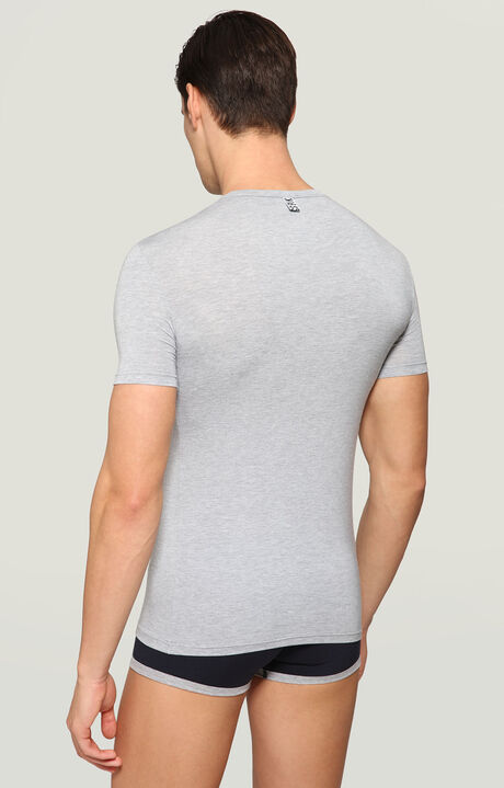 T- SHIRT MICROMODAL, Grey Melange, hi-res-1