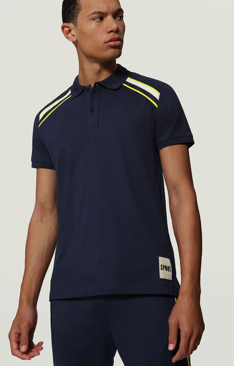 PIQUET POLO WITH LOGO LABEL, BLUE, hi-res-1