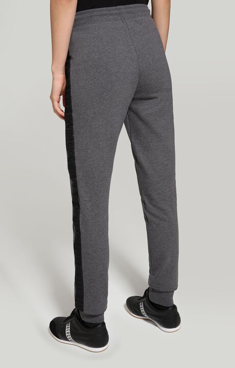 FLEECE PANTS WITH TAPE ON SIDE, DARK GREY MELANGE, hi-res-1
