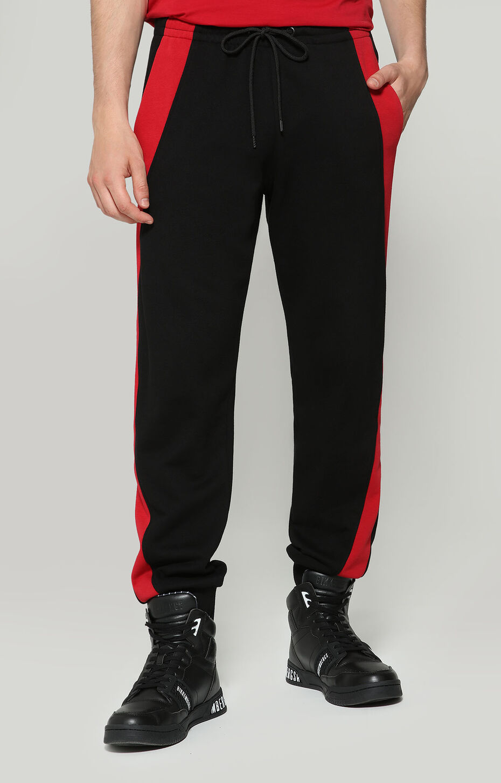 FLEECE PANTS, BLACK/CHILI RED, hi-res-1